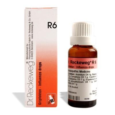Dr. Reckeweg R6 Influenza drops, homeopathic medicine for flu,bronchitis, pneumonia, Bronchitis, Bronchopneumonia, Cold, common, Influenza