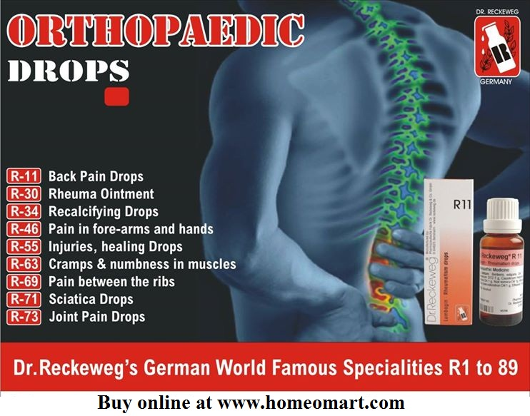 Reckeweg R11 orthopaedic drops - illustrated homeopathic medicine list