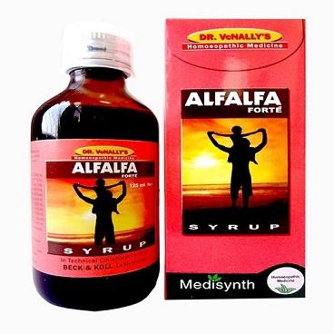Medisynth Alfalfa forte syrup with Alfalfa 2x, Avena sativa 3x, Cinchona officinalis 3x, Hydrastis canadensis 2x, Withania somnifera 2x, Acidum phosphoricum 2x, Ferrum phosphoricum