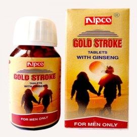 Nipco Gold stroke with Ginseng for ED, erectile dysfunction, sexual weakness, impotence, premature ejaculation. popular sex medicine in India