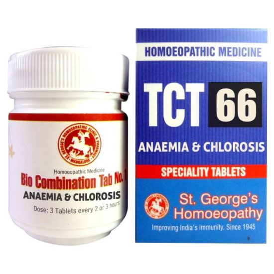 St George TCT 66 Homeopathic Tissue Complex Tablets for Anaemia and Chlorosis