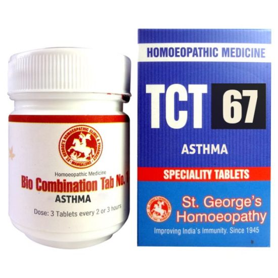 St George TCT 67 Homeopathic Tissue Complex Tablets for Asthma, difficult breathing, cough