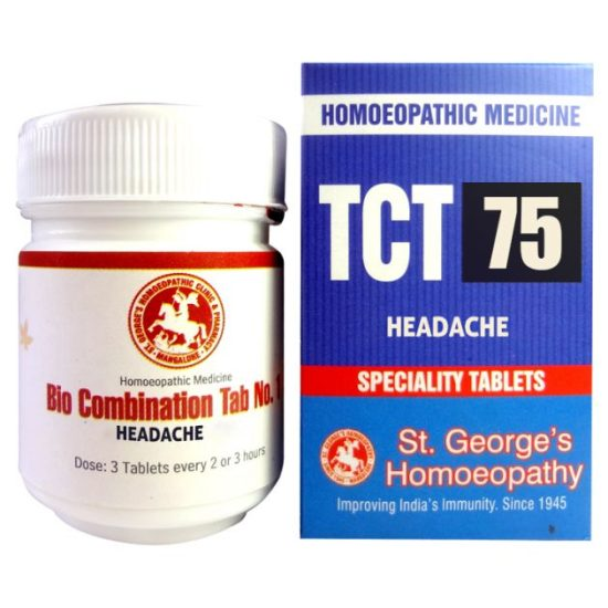 St George TCT 75 Homeopathic Tissue Complex Tablets for Headache