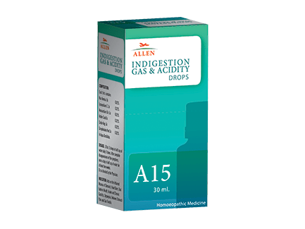 Allen A15 Homeopathy drops for Indigestion, Gas, Acidity drops, Heart Burn, Chronic Gastritis, Dyspepsia, Stomach Pain