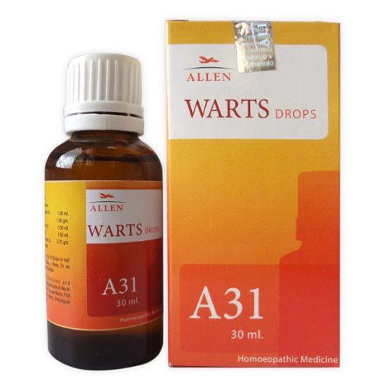 Allen A31 Homeopathic Drops for all types of Warts (Plantar Warts, Flat Warts, Filiform Warts, Periungual Warts) and Corns