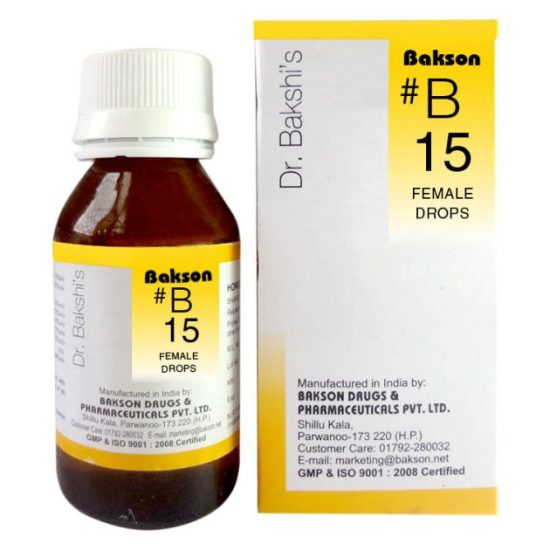 Dr.Bakshi B15 Female Homeopathy Drops for Amenorrhoea, Dysmenorrhoea, flushes of heat, period cramps