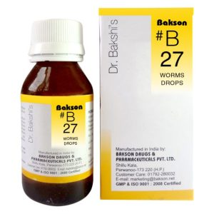 Dr.Bakshi B27 Worm Homeopathy drops - Vermifuge medicine for all types of worms, pinworm, hookworm, ascarides, thread worms