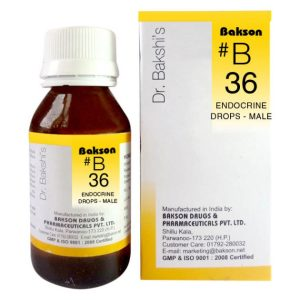 Dr. Bakshi B36 Endocrine Homeopathy Drops for male, Growth disturbances, Obesity, Thyroid dysfunction, addison's disease, impotency