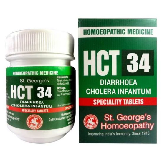 St Georges Homeopathic Complex Tablets HCT No 34 for Diarrhoea, Cholera Infantum
