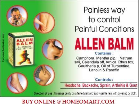 Allen Balm for Headache, Backache, Sprain, and gout. Contains Camphora, mentha pip, Rhus tox etc. Homeopathy pain medicine