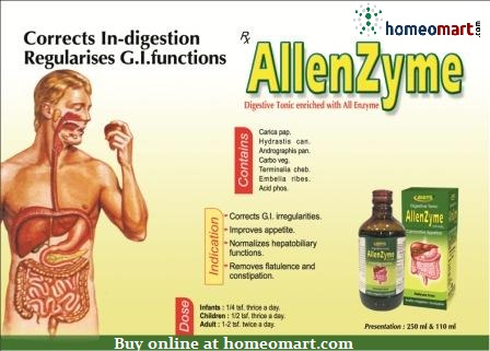 Allenzyme Digestive tonic corrects digestion, contains carbo veg, Hydrastis can, Acid phos, Embellia ribes. Improves appetite, removes flatulence, constipation