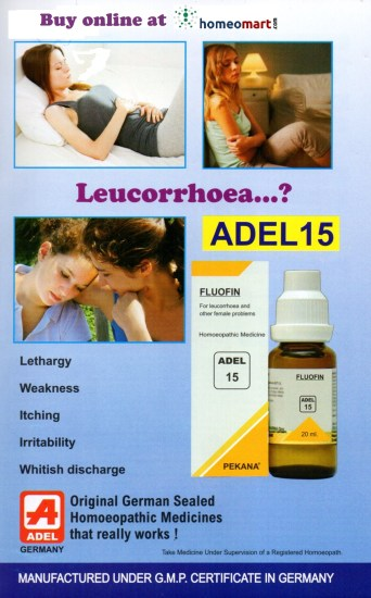 Adel 15 Flofin drops, homeopathy medicine for Leucorrhoea (vaginal white discharge)