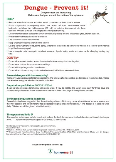 Dengue and chikungunya epidemic: Do's & Dont's , how to prevent it, homeopathy medicines for fever treatment. Issued in public interest