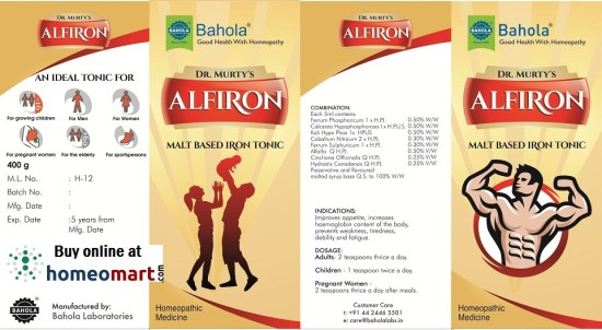 New Bahola Alfiron Malt Tonic, Homeopathy medicine, Malt based iron tonic