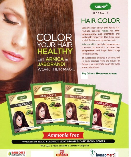Complete Baksons Hair colour range with Arnica, Jaborandi