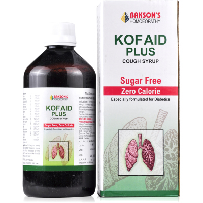 Bakson Kof Aid Plus - Sugar Free Cough Syrup, Homeopathy Diabetes Cough Medicine India