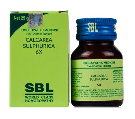 SBL Biochemic Tablet Calcarea Sulphurica for boils, pimples, cystic swelling, fibroids 25gm