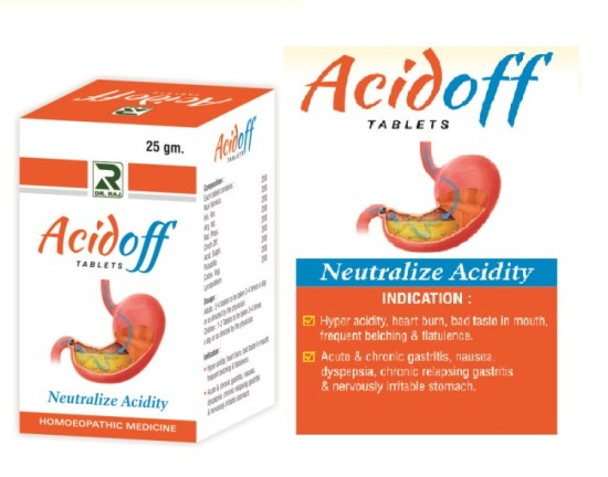 Dr.Raj Acidoff Tablets Homeopathic medicine for Acidity and Gas