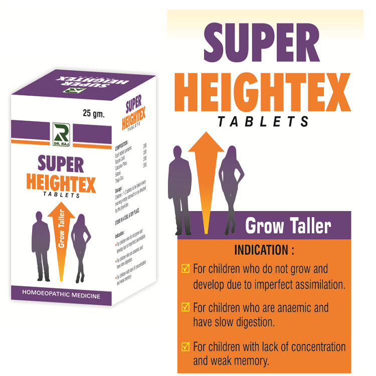Buy Dr Raj Super Heightex Tablets, Homeopathy Grow Taller