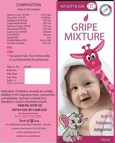 Homeo Gripe Mixture for Baby Acidity, Flatulence, Indigestion
