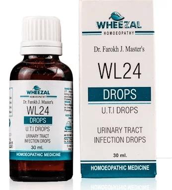Wheezal WL24 Urinary Tract Infections (UTI) Drops, cystitis, urethritis, nephritis, cystopylitis, cystopyelonephritis