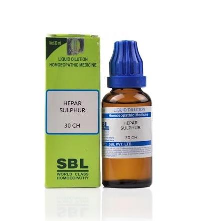 SBL Hepar Sulphur Homeopathy Dilution 6C, 30C, 200C, 1M, 10M, CM