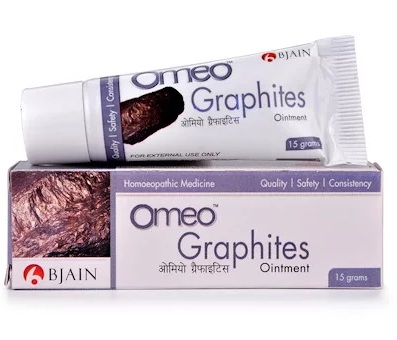 Bjain Omeo Graphites Ointment for eczema, dry skin, Cracks in nipples, mouth, between toes, anus