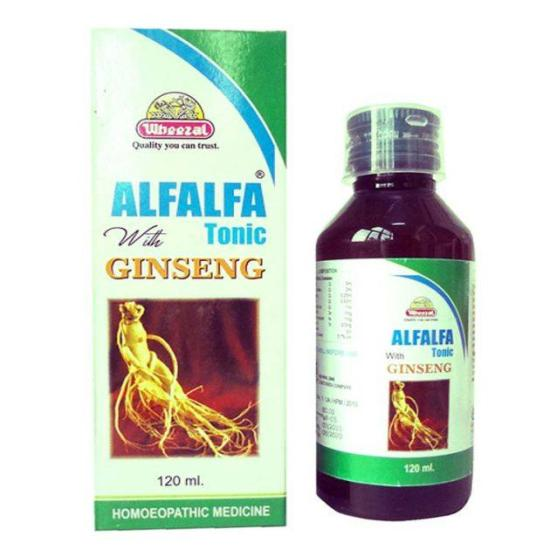 Wheezal Alfalfa Tonic with Ginseng for Stree Free Life, 120ml