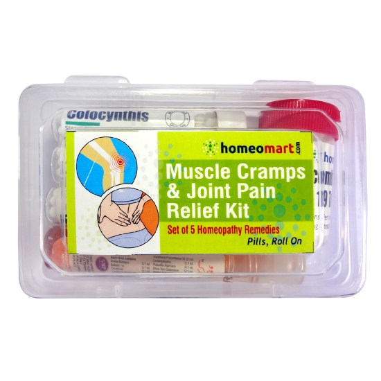 Homeopathy muscle cramps, spasms and joint pain medicine kit with rhus tox colocynthis