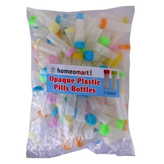 Homeopathy Plastic Pills Empty Bottles Opaque Super, 2 Dram