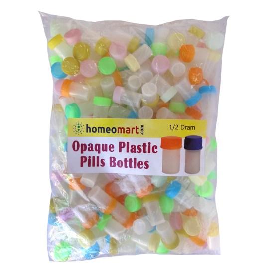 Homeopathy Plastic Pills Empty Bottles Opaque Super, half dram