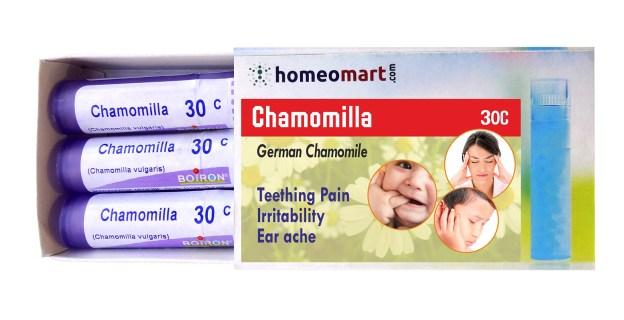 Homeopathy medicine chamomilla for teething pain irritability, earache