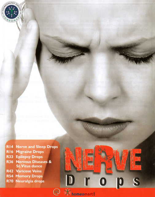 Nerve drops in Homeopathy for Migraine insomnia epilepsy memory loss neuralgia