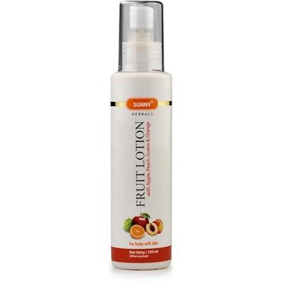 Bakson fruit lotion moisturizer for soft skin with apple, peach, guava, orange