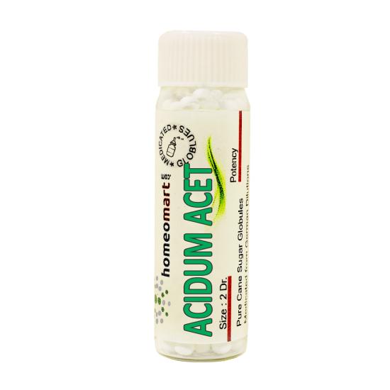 Acidum acet Homeopathy 2 Dram Pellets 6C, 30C, 200C, 1M, 10M