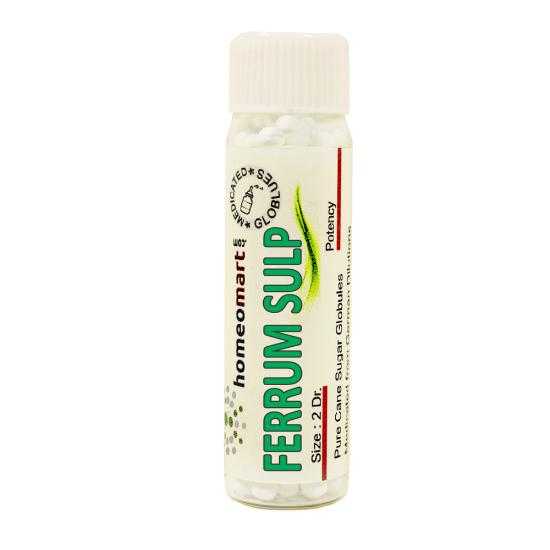 Ferrum Sulph Homeopathy 2 Dram Pellets 6C, 30C, 200C, 1M, 10M