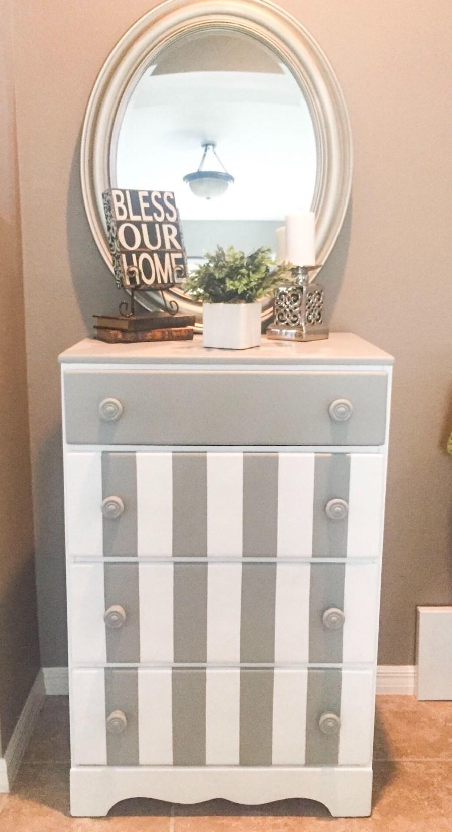 Paint Stripes on a Dresser
