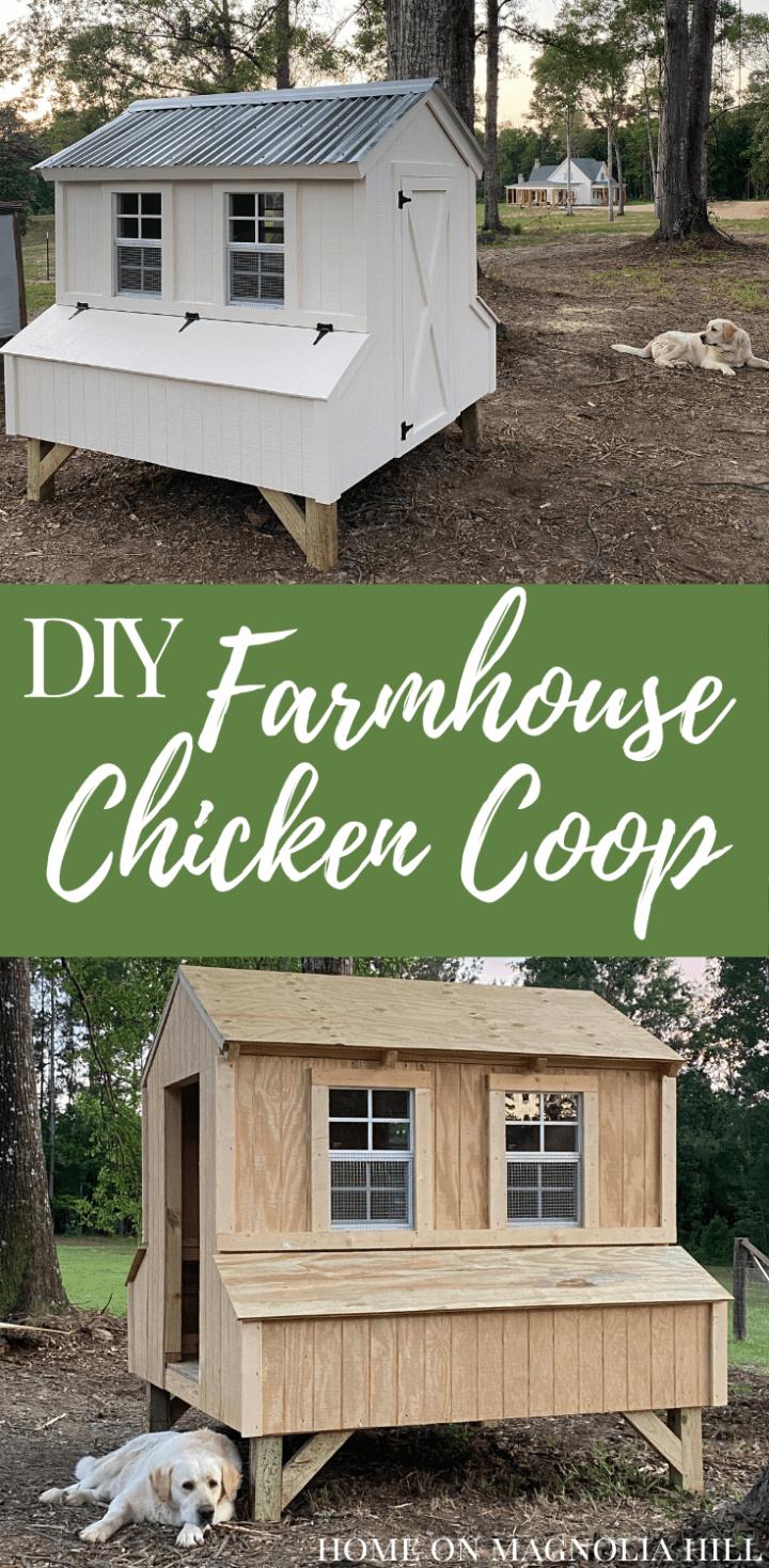 DIY farmhouse chicken coop chickens Labrador retriever farm backyard chickens