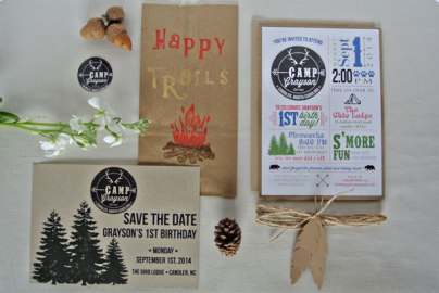 summer camp logo bear trees s'mores first birthday