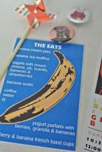 andy warhol banana 2nd birthday food menu