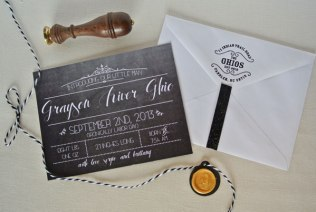 birth announcement chalkboard photo monogram wax stamp seal