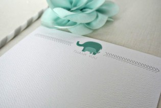 elephant baby thank you card