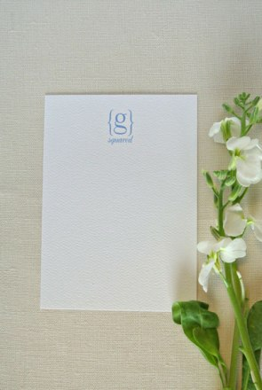 monogram stationery card blue