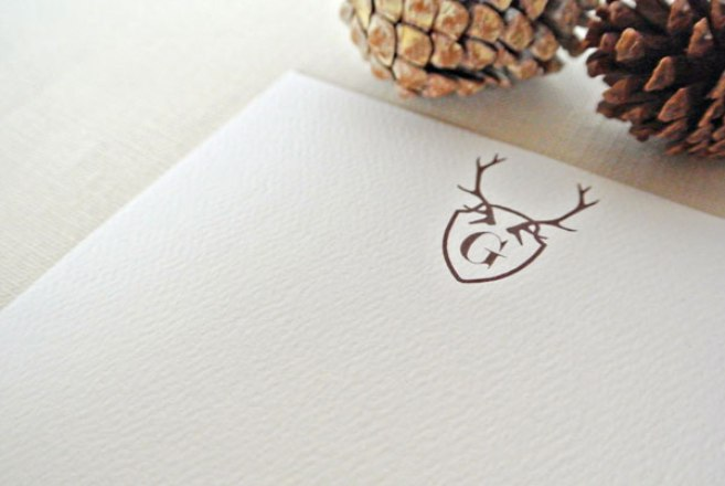 monogram antler stationery card