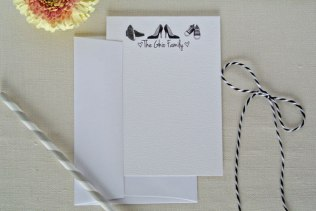 shoes black white personalized family stationery card