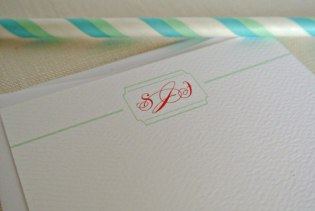 coral mint green personalized monogram stationery card