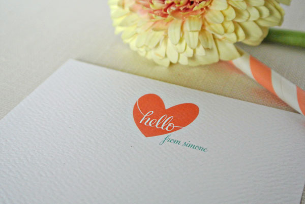 heart hello coral teal stationery card