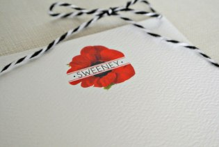 red poppy family name personalized stationery card