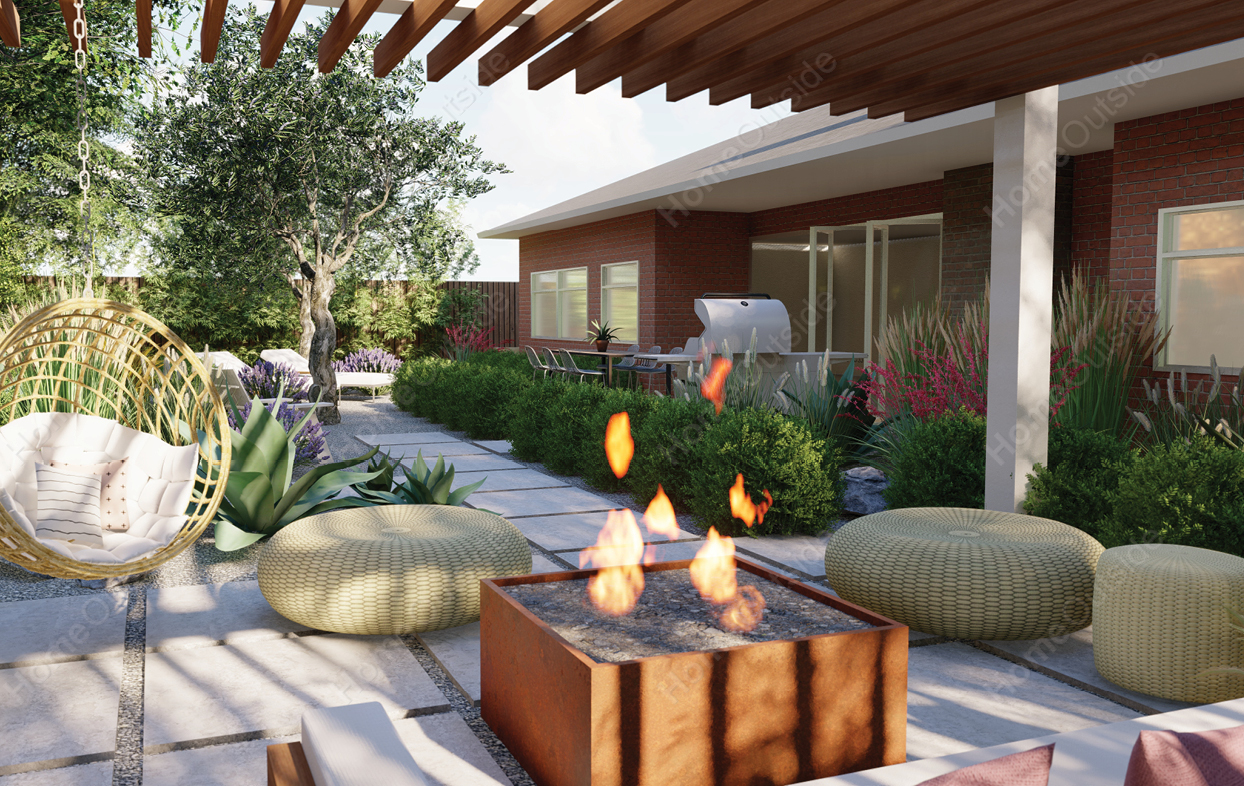 home-outside-landscape-design-Midland-TX-3d-view-fire-table-lounge-area