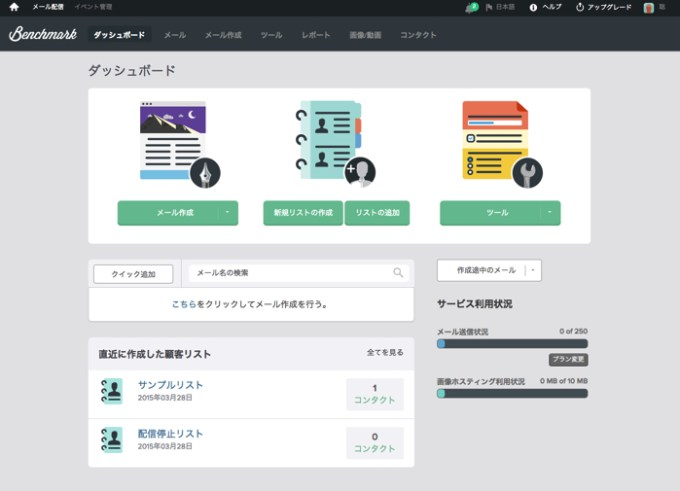 Benchmark Emailダッシュボード画面